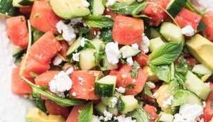 Wassermelonensalat Feta, Gurke Avocado