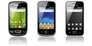 Galaxy S, Galaxy Ace, Galaxy Gio, Galaxy Fit und Galaxy mini