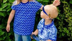 Blaue Geschwister Kombi nähen Junge Mädchen