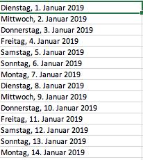 Excel-Quickie: Wie kann ein Spalte mit allen Tagen des Jahres (Monat) erzeugt werden?