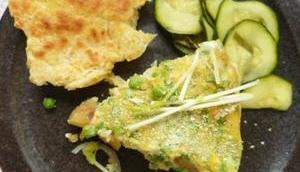 Omelett Erbsen, Kartoffeln, Erbsensprossen Erbsenpulver