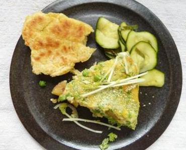 Omelett mit Erbsen, Kartoffeln, Erbsensprossen und Erbsenpulver