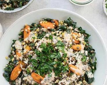 Linsen Reis Salat mit gerösteten Karotten & Tahini-Dressing