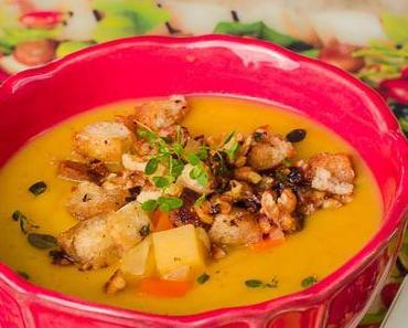 Samstagseintopf: Herbstliche Steckrüben-Suppe mit Walnuss-Croutons