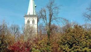 Foto: Kirche hinter herbstlichem Gesträuch