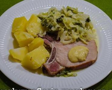 Kasseler, Wirsing, Salzkartoffeln