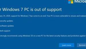 Microsofts Vollbildwarnung Windows 7-Supportende