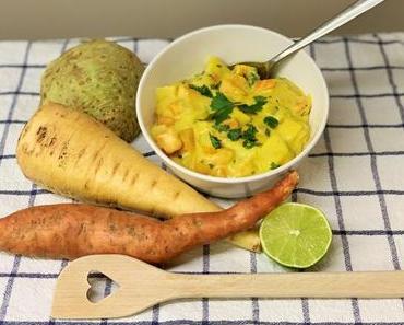 Winterlicher Gemüse-Eintopf mit Curry und Kokosmilch