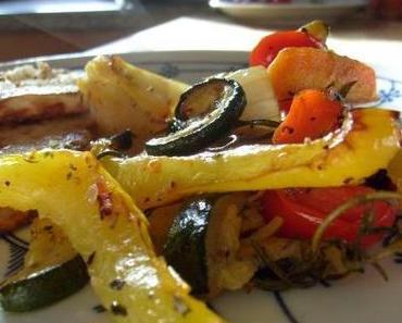 Ofengemüse und Kohlrabischnitzel