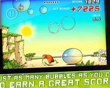 Kiwi Brown: putziger Kiwi wird zum Seifenblasen-Jäger