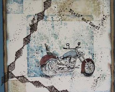 """Grußkarte mit Motorradmotiv von kreativer """"Kundenfreundin ;-)"""""""