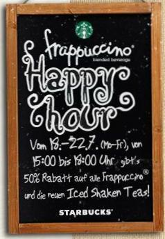 Starbucks Happy Hour: 50% auf ALLE Frappuccinos & Iced Shaken Teas