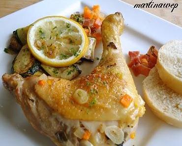"""Hühnchen """"Kroatische Art"""" mit Zucchinigemüse"""