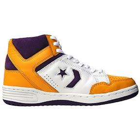 Converse Weapon 86 Chucks 107122 Leder Lila Gelb Weiß – Lakers