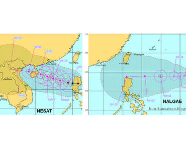 Erwarteter Weg / Verlauf / Zugbahn Taifune NESAT und NALGAE