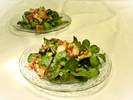 n ssli salat feldsalat d chterli salat mit speck und kracherle. Black Bedroom Furniture Sets. Home Design Ideas