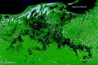 Satellitenbild Flut in Mexiko - Río Usumacinta Tabasco