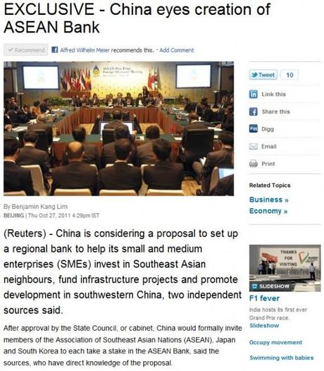 ASEAN: China eyes Creation of ASEAN Bank.