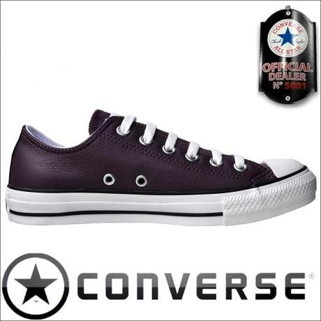 Converse flache Schuhe All Star Chucks 100156 Lila Leder OX