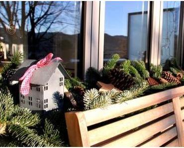 Weihnachtliche Dekoration für unser Balkonfenster