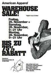 American Apparel Warehouse Sale in Köln