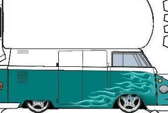 Papier aus bus basteln Bastelbogen VW