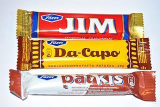 Fazer Jim, Da-Capo, Pätkis, Leaf Suku Laku, Brunberg Mint Truffel, Leaf Tupla Shuffle und Panda Ahaa Crisp