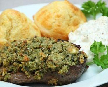 Yorkshire Pudding, Steak mit Kruste und Forellencreme
