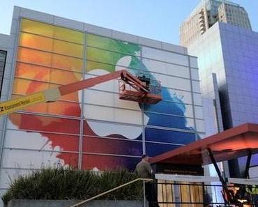Yerba Buena Center for the Arts in Cupertino, San Francisco wird für die iPad 3 Keynote geschmückt