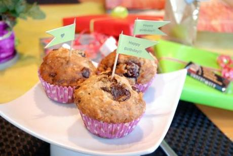 Chocolate Cherry Birthday Muffins