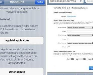 Apple fordert nun auch in Deutschland Sicherheitsfragen für die Apple ID