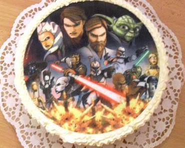 Erdbeer-Sahne-Torte (Star Wars Torte zum 6. Geburtstag)