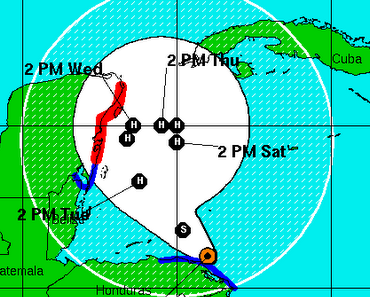 Atlantik aktuell: Tropischer Sturm / Hurrikan PAULA bedroht Yucatán (Mexiko) und eventuell Kuba