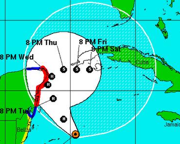Atlantik aktuell - Update Tropischer Sturm / Hurrikan PAULA: Touristenzone auf Yucatán stark bedroht und Kuba wird wahrscheinlich etwas abbekommen