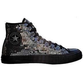 Converse All Star Chuck Taylor Chucks 107022 Schwarz Silber Black Sequins Pailletten