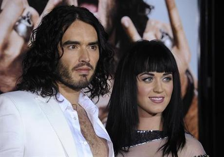 Cast member Russell Brand (L) and Katy Perry attend the premiere of the film Get Him to the Greek at the Greek Theatre in Los Angeles on May 25, 2010. UPI Photo/ Phil McCarten Photo via Newscom