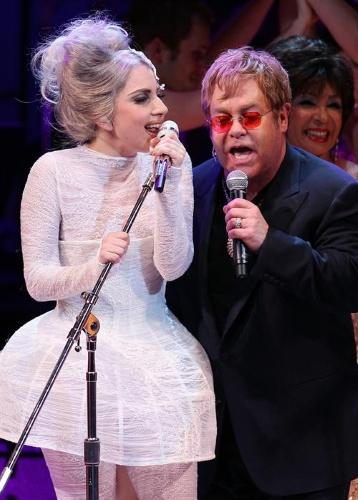 Lady Gaga and Elton John perform at the Rainforest Fund's 21st Birthday Concert at Carnegie Hall in New York City on May 13, 2010. UPI/John Angelillo Photo via Newscom