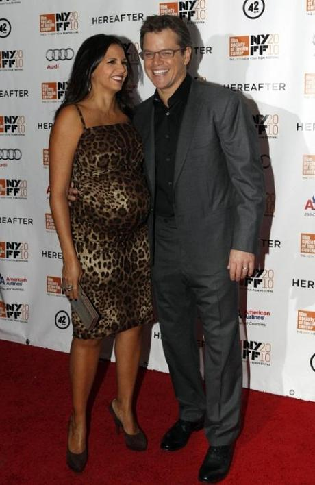 Actor Matt Damon and his wife Luciana Barroso arrive for the closing night screening of Hereafter at the 48th New York Film Festival in this October 10, 2010 file photo. Damon, 40, and Luciana, 35, added daughter Stella Zavala Damon to their family on October 20, 2010 according to Damon's representative. REUTERS/Jessica Rinaldi/Files (UNITED STATES - Tags: ENTERTAINMENT)