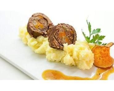 Gefüllte Rinderroulade mit Wurzelgemüse, Speck und Kartoffelpüree Rezept