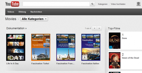 YouTube: Movie-Funktion jetzt auch in Deutschland nutzbar