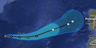 Tropensturm GORDON kommt auf Weg nach Europa den Azoren nahe