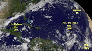 Atlantische Hurrikansaison 2012 aktuell: GORDON, ISAAC, Ex-HELENE und mehr