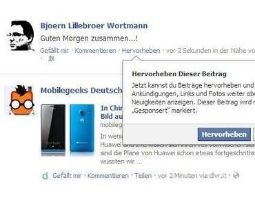 Facebook – Beiträge hervorheben!