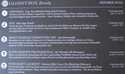 Glossybox Österreich (Oktober 2012)