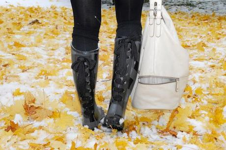 Thursday to go: gumboots and leather jacket