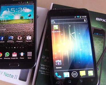 Galaxy Note 2 vs. simvalley SPX-8: 550 Euro gegen 250 Euro