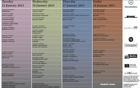 BERLIN FASHION WEEK MERCEDES MODEL SCHEDULE JANURAY 2013 BERLIN