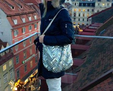Blue Jacket / Cream Pants / Sequin Bag for shopping in Graz