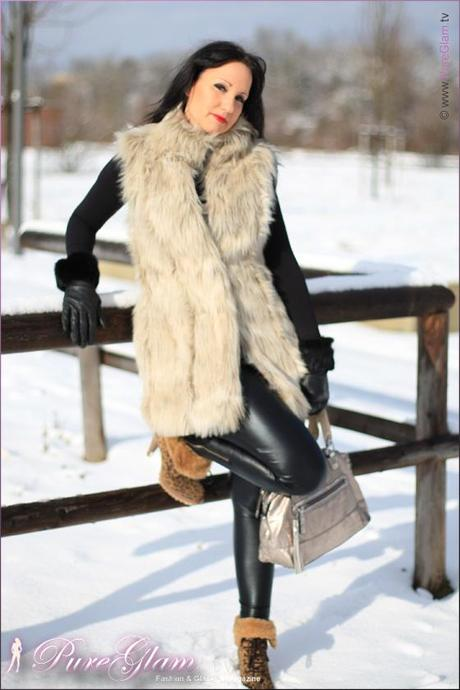 January 2012 styling with faux fur vest