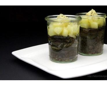 Oliven-Pastis-Flan mit karamellisierten Birnen